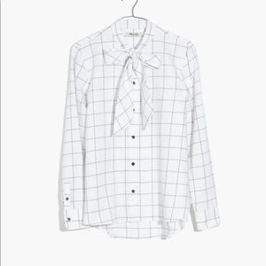 New with tag Madewell flannel tie neck shirt in windowpane S button down